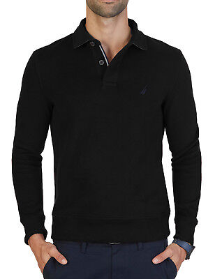 NEW MENS NAUTICA WINDWARD LONG SLEEVE BLACK CLASSIC FIT FRENCH RIBBED POLO M $79