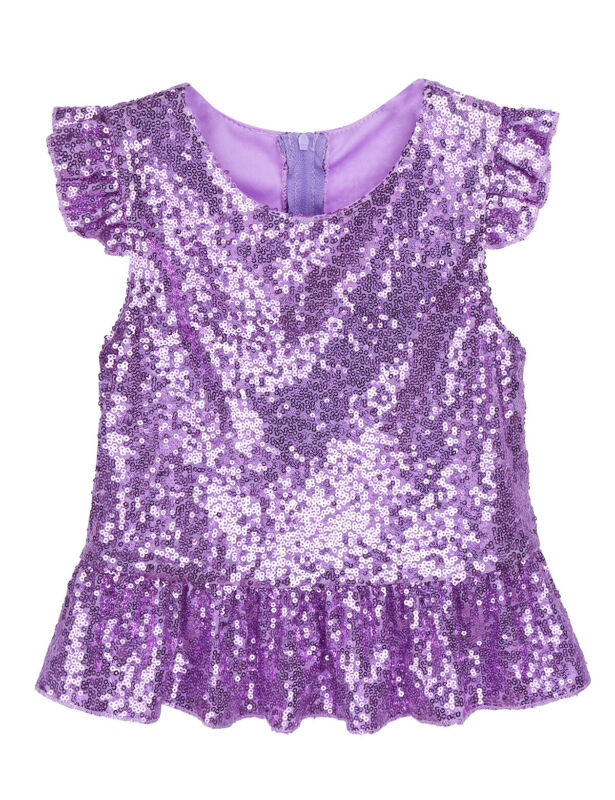 Kids Girls Sequins Shirt Tops Kids Mermaid Peplum Top Costumes Party Dancy Dress