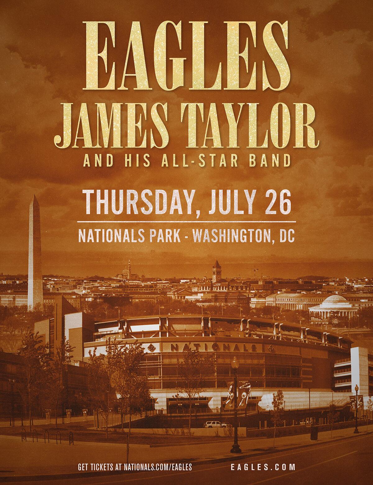 EAGLES / JAMES TAYLOR 2018 WASHINGTON DC CONCERT TOUR POSTER - Folk / Soft Rock  - $11.99