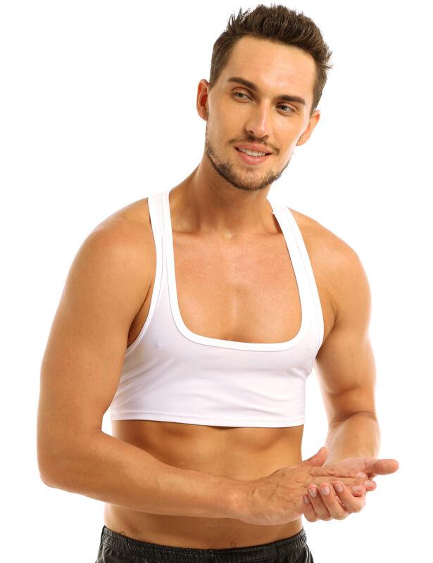 Men Sports Bra Crop Tank Top Vest Y-Back Fitness Muscle T-shirt Clubwear Costume