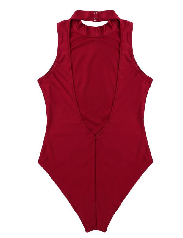 YOOJIA Women Adult Ballet Dance Leotard Open Back High Cut Bodysuit Halter Neck Sleeveless Camisole Gymnastics Wear