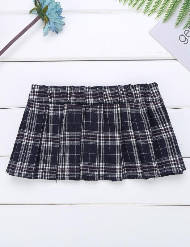 Sissy Women/'s Ladies Schoolgirl Mini Skirt Slim Short Plaid Dress Fancy Costumes