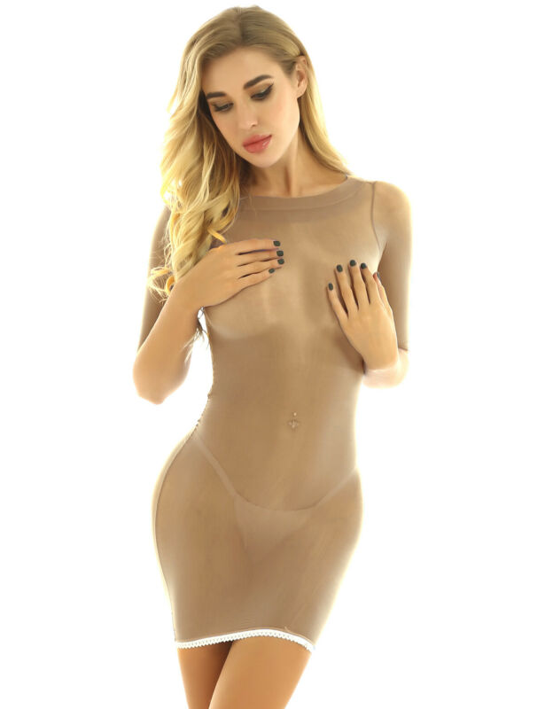 Women/'s Mesh See-through Sheer Bodycon Bodystocking Club Party Short Mini Dress