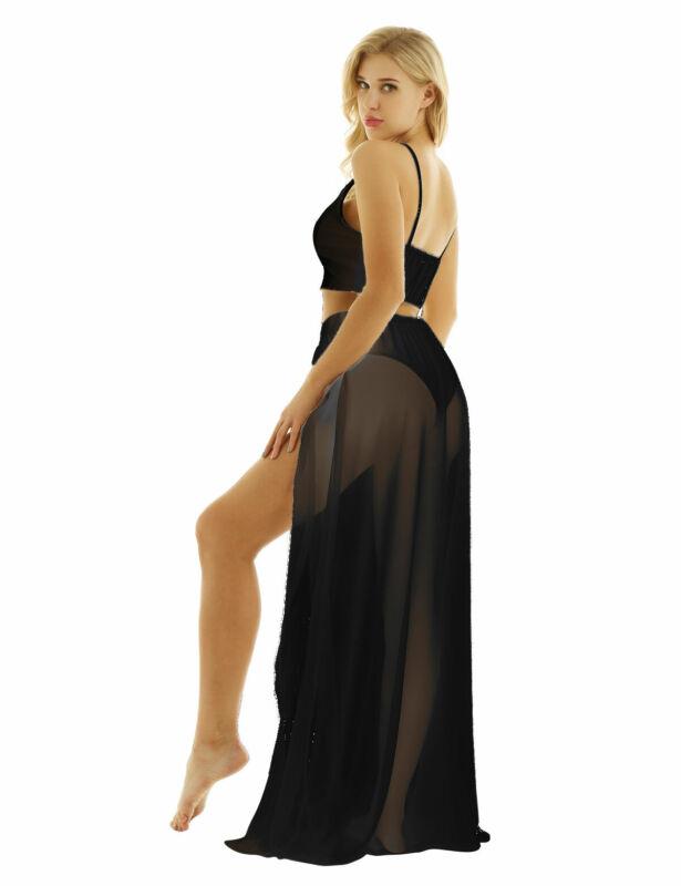 594c2323ffe Sexy Two piece Women v-neck Crop Top Skirt Beach Party Sundress Split Long  Skirt