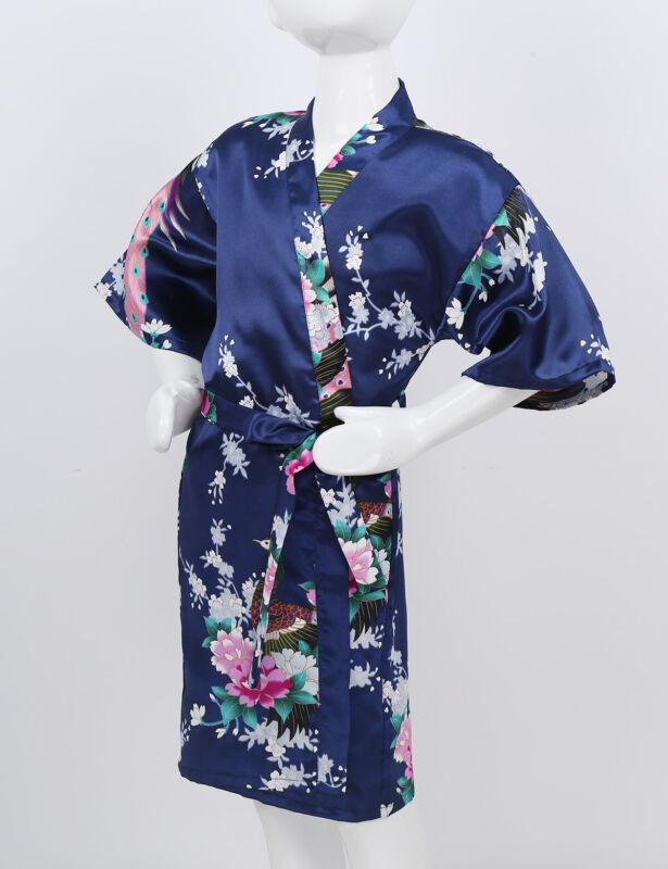 Kids Girls Kimono Robe Sleepwear Satin Flower Printed  Bathrobe Spa Nightgown