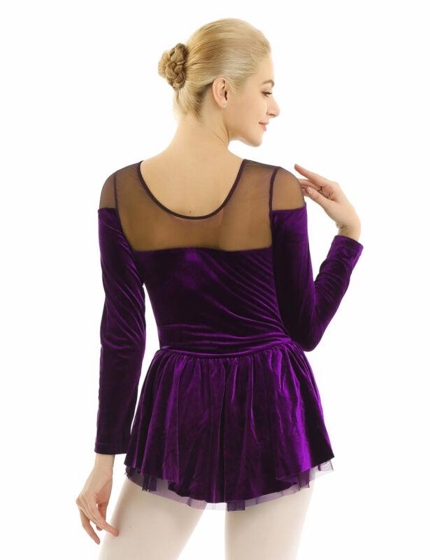US Womens Long Sleeve Velvet Skating Dress Ballet Dance Gymnastics Leotard Dress