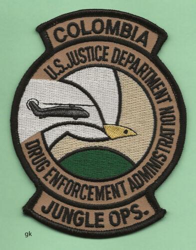 DEA  DRUG ENFORCEMENT JUSTICE DEPT COLOMBIA JUNGLE OPS  POLICE SHOULDER PATCH