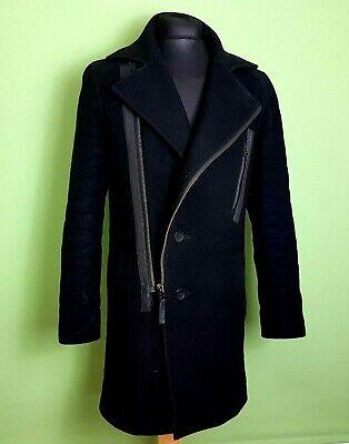 TIGER of Sweden Mens Overcoat SHORELINE Size Medium Black Woollen Fitted Zipped