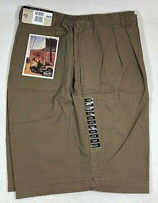 Haggar Clothing Light Brown Khaki Cotton Pleated Walking Shorts Men's 42W - Light Clothing