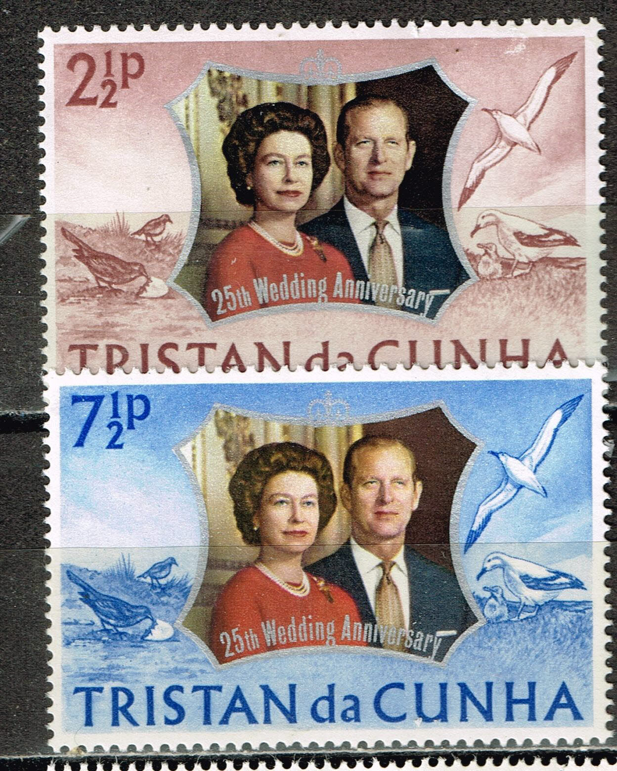 Tristan Da Cunha Islands Royal Wedding 25 Ann Sea Birds stamps 1963 MLH