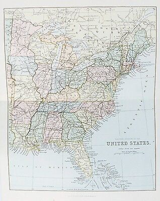 OLD ANTIQUE MAP UNITED STATES AMERICA EASTERN DIVISION c1880's by MACKENZIE