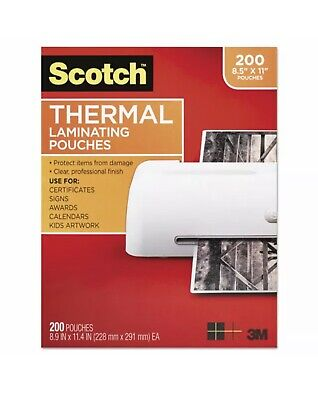 Scotch 200 Count Letter Size Thermal Laminating Pouches 3 Mil 11 25 X 8 910