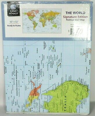 New Sealed Rand McNally Signature Political Color Wall Map of the World 50