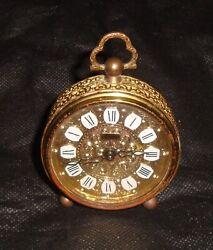 LINDEN VINTAGE Filigree Brass Finish ALARM CLOCK Mechanical Made in WEST GERMANY
