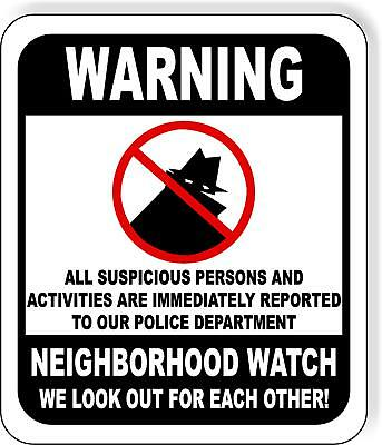Warning Neighborhood Watch Crime-fighting Metal Outdoor Sign Long-lasting