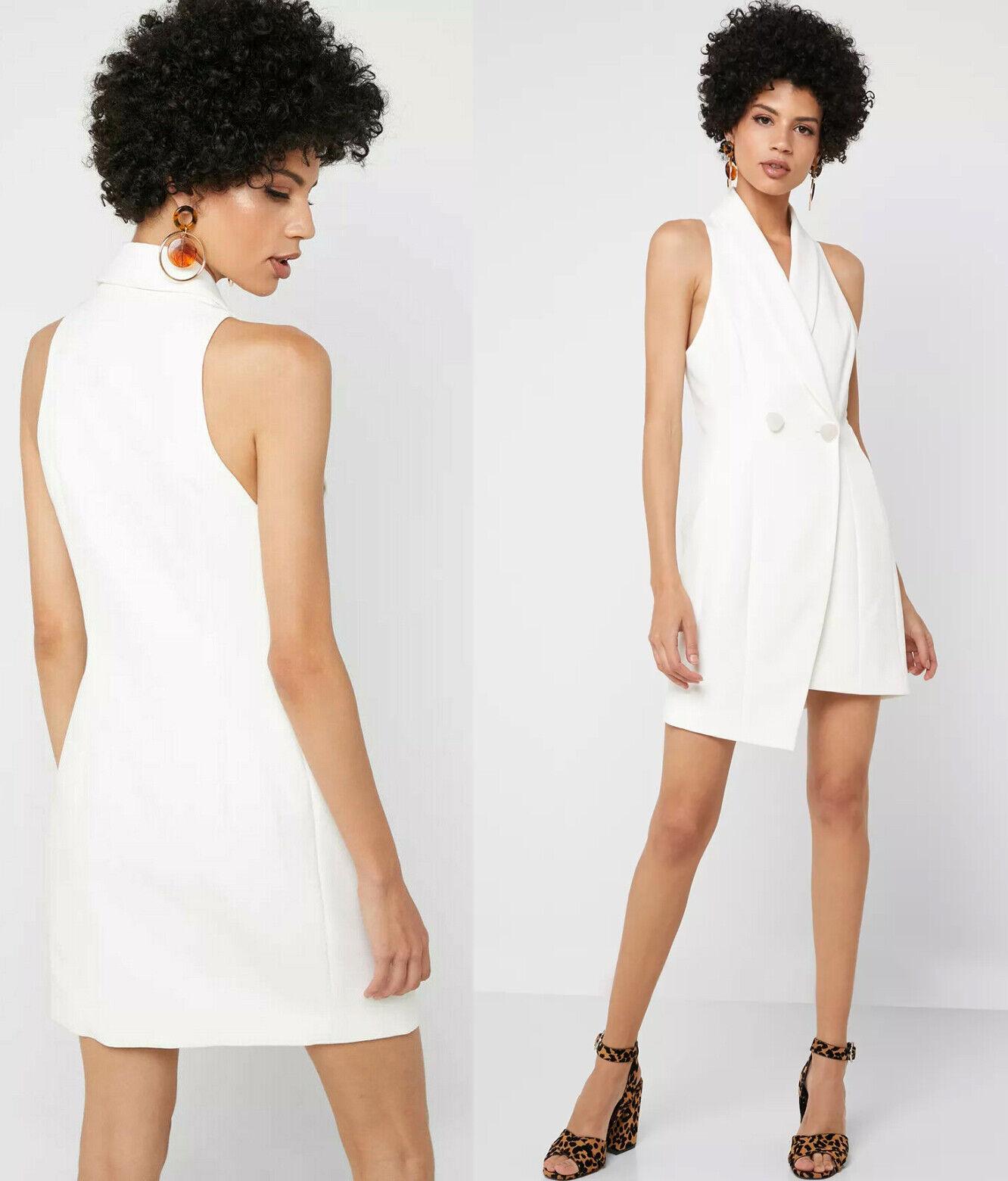 TOPSHOP New Tuxedo Wrap Jacket Dress in White Sizes 8 to 18