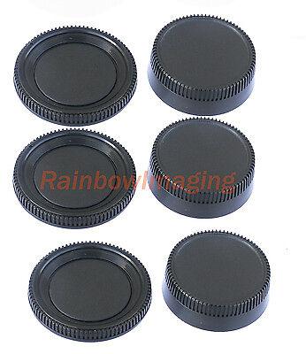 3 pcs x Rear Lens Cover + Camera Body Cap for Nikon D5600 D3400 D3300 D3200 D850 ()