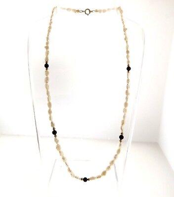 "Vintage Biwa Pearl Onyx Strand Necklace 4mm 18"""