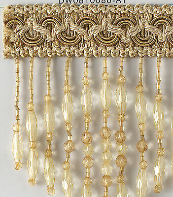 Yellow  beaded fringe BY THE YARD  For draperies, pillows and more