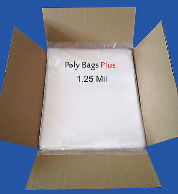 1000 12x16 Clear 1.25 Mil Poly Bags Flat Opentop Polybags Ldpe Plastic Baggies