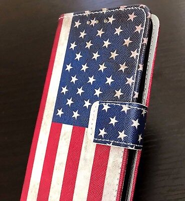 iPhone X / XS - USA American Flag Credit Card ID Wallet Pouch Holder Case Cover](Flag Holder Case)