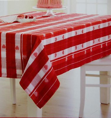 Used, Valentine's Day Red White Heart Jacquard 70 in Round Tablecloth NWT for sale  Sandy Hook