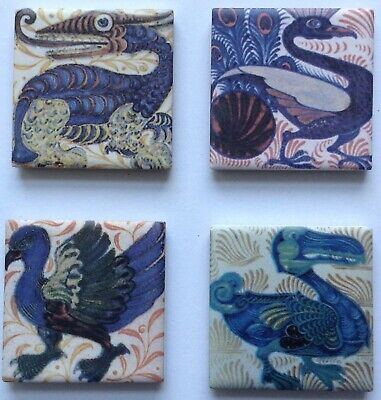 William De Morgan /William Morris Mystical Beasts Fridge Magnets 4 Magnets