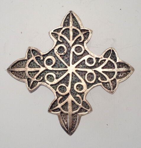 Vintage Hallmarked English Silver Cross Pin Brooch