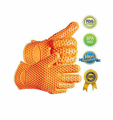 Pair Silicone Heat Resistant Gloves Oven Grill Pot Holder BBQ Cooking Mitts