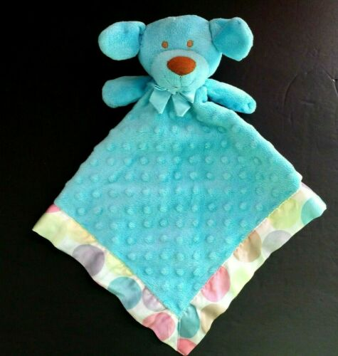 Blankets & and Beyond Blue Puppy Dog Minky Dot Satin Security Blanket Lovey