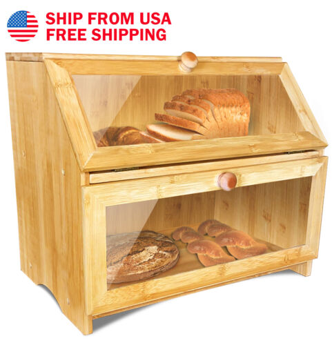 Clearance Large Layer Double Wooden Bread Box For Kitchen Counter US Ship