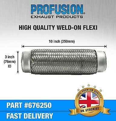 "Weld On 3"" X 10"" inch Exhaust Flexible Joint Repair Flexi Pipe tube Flex"