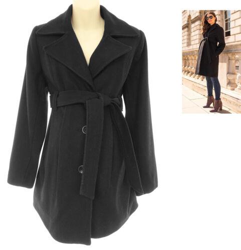 Size Medium Women BLACK WOOL-BLEND MATERNITY COAT W/TIE Lined Jacket Winter Warm