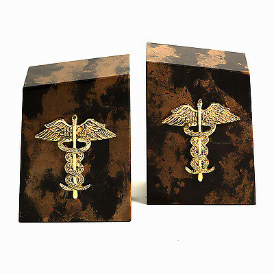 BOOKENDS - CADUCEUS TIGER EYE MARBLE BOOKENDS - MEDICAL - (Marble Medical Bookends)