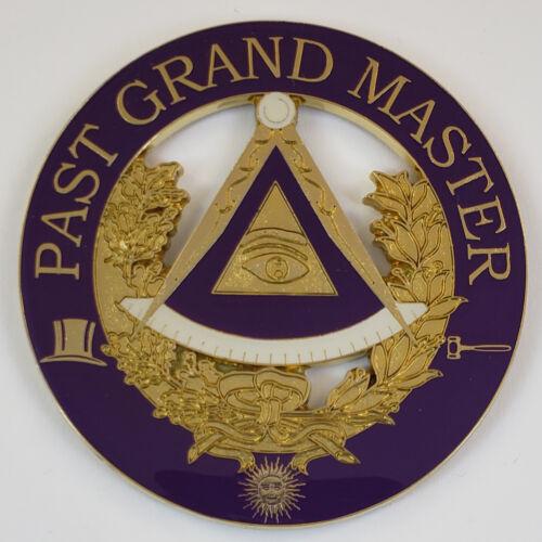 Auto Emblem Past Grand Master Metal Enamel Masonic Freemason Mason