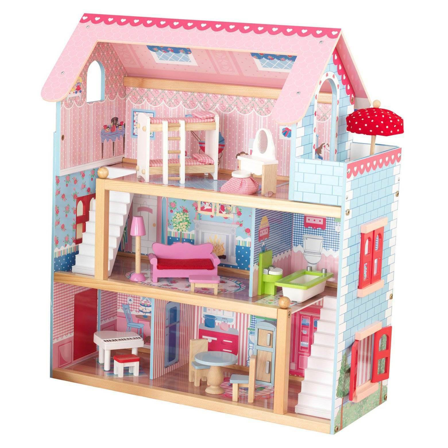 KidKraft Chelsea Wooden Dollhouse Pretend Play House Cottage with Furniture