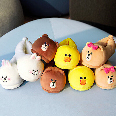 LINE FRIENDS Character Plush Slippers Indoor FREE Size 230~240mm Official Goods