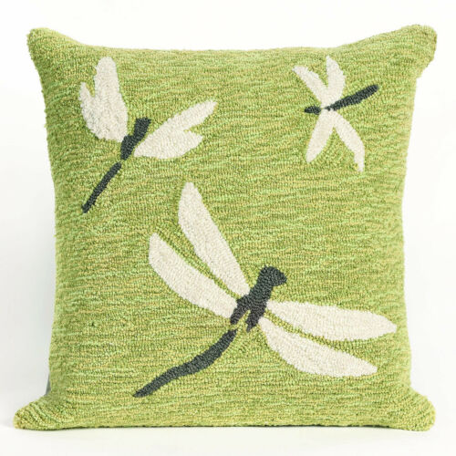 """PILLOWS - """"DRAGONFLY DANCE"""" TUFTED INDOOR OUTDOOR PILLOW - 18"""" SQUARE - GREEN"""
