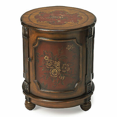 TABLES - HILLWOOD HAND PAINTED FLORAL DRUM TABLE - END TABLE - FREE (Hand Painted Drum Table)