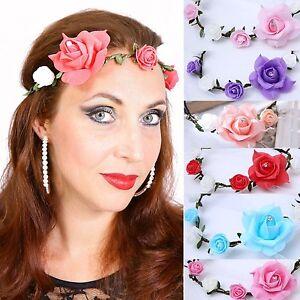 de Cinta Pelo Floral Corona Flores Rosas Adorno Para Cabello Comunión