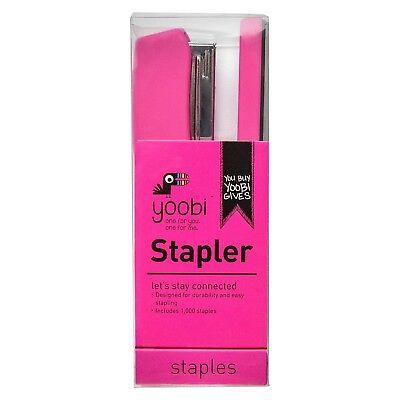 New In Box Yoobi Stapler Pink Includes 1000 Staples