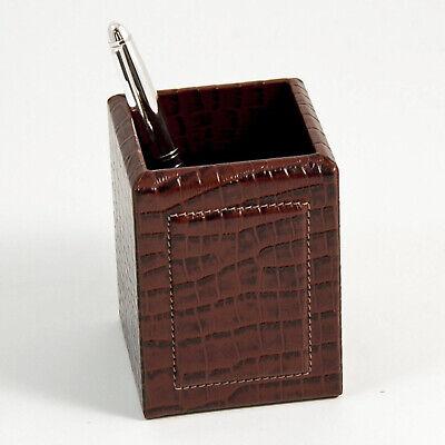 Desk Accessories - Greenwich Brown Croco Leather Pen Pencil Holder