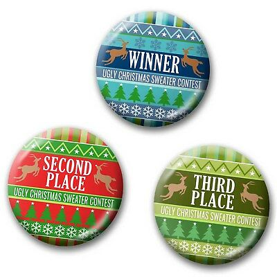 3-PACK Buttons - Ugly Christmas Sweater Contest Awards - Party Favor for Winner ](Ugly Sweater Awards)