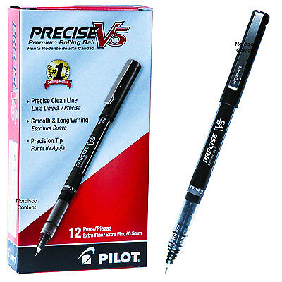 Pilot Precise V5 35334 Black Ink 0.5mm Extra Fine Rolling Ball Pen, Box of (Extra Fine Black Ink)