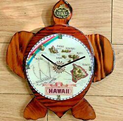 HAWAIIAN*Real*Wood*Sea*Turtle*Quartz*Clock**Handcrafted*THE ISLANDS OF HAWAII