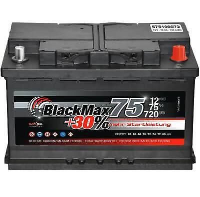 Autobatterie 75Ah 12V BlackMax Starterbatterie ersetzt 66Ah 68Ah 70Ah 72Ah 74Ah