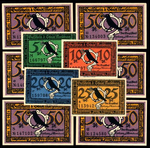 Merseburg Notgeld / 1921 / Complete Set, Ten Notes - UNC