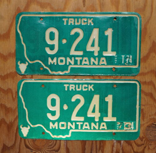 1973 1974 Montana Truck License Plate PAIR / SET # 9 - 241