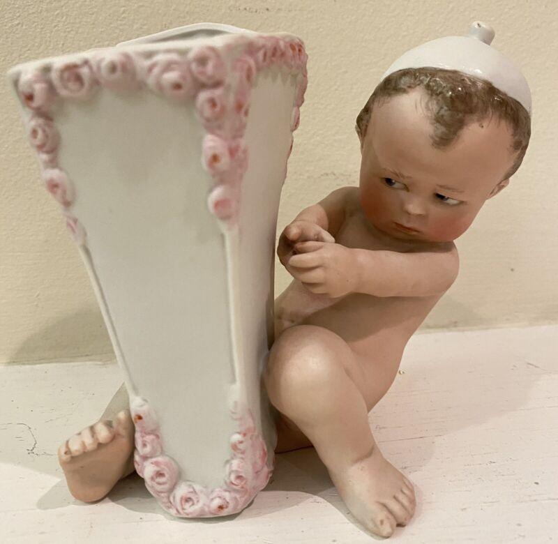 ADORABLE Small Vintage Bisque KICKING BABY Planter / Vase Porcelain