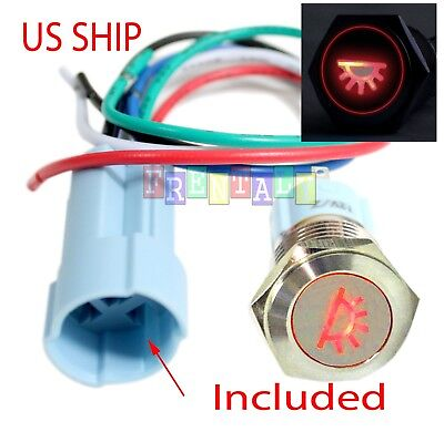 Ssf 16mm Red Dome Driving Led 12v Latching Push Button Power Switch Waterproof